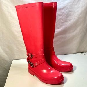 Coach Pink Lori Tall Rain Winter Boots 5